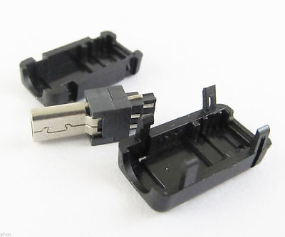 50sets Mini USB 8Pin Male Plug Socket Connector With Plastic Cover for DIY