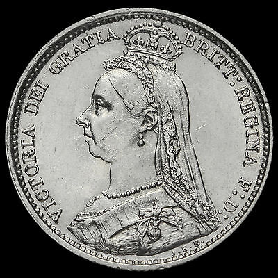 1889 Queen Victoria Jubilee Head Silver Sixpence, EF