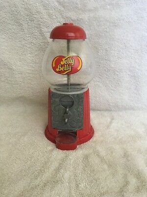 """Jelly Belly Bean Gumball Machine Glass Metal Candy Dispenser Red Coin Bank 9"""""""