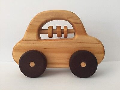 Wooden Toy Car Handmade Timber Baby Rattle