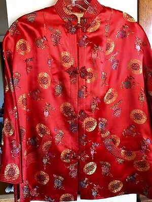 Vintage Red Orange Silk Asian Jacket Blouse made in Hong Kong Great Condition