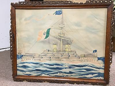Antique c.1898 spanish Americn War Battleship water color Painting Folk Art navy