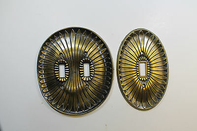 "Vintage ""MF CO"" Oval Electrical Covers In Brass"