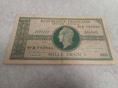 France 1944 1000 Francs P107 WWII Tresor Central Government Note