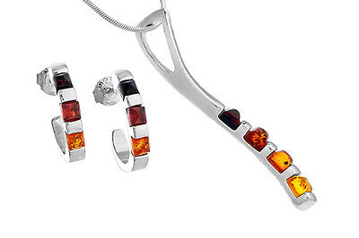 Sterling Silver 925 Baltic Amber Pendant Hoop Earrings Set Jewellery +Chain