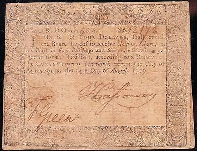 Nice *RARE* Aug. 14, 1776 Annapolis, Maryland Colonial $4 Note! FREE SHIP! 12172