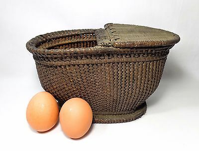 Shaker (Canterbury, Nh) Hand-Woven Wicker Berry Basket, W/one Half Lid No Handle