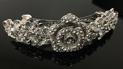 silver tone clear rhinestone crystal flower hair barrette clip ha276225