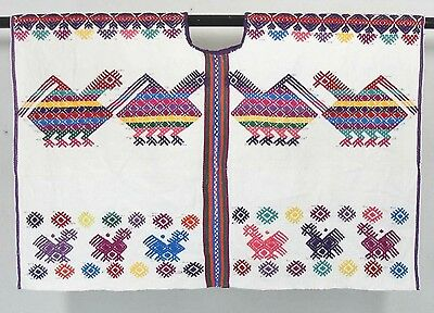 vtg GUATEMALAN NAHUALA HAND WOVEN BIRDS HUIPIL dress blouse embroidered mexican