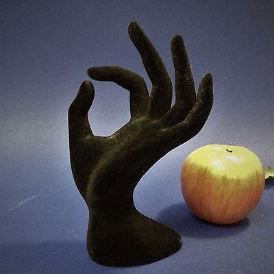 Ex-Display - Black Flocked Mannequin Hand - 17cm Tall - Ornamental