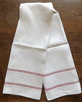"Antique French Red Stripe Ivory Flax Linen Towel - 36"" x 20"""