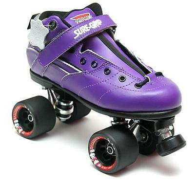 Suregrip Rebel Purple Adult Leather Derby Roller Skates Size 10 (28.3cm)