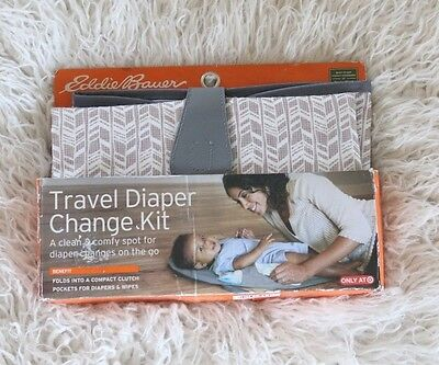 Eddie Bauer Travel Diaper Change Kit Baby Compact Foldable Gray Geometric Clutch