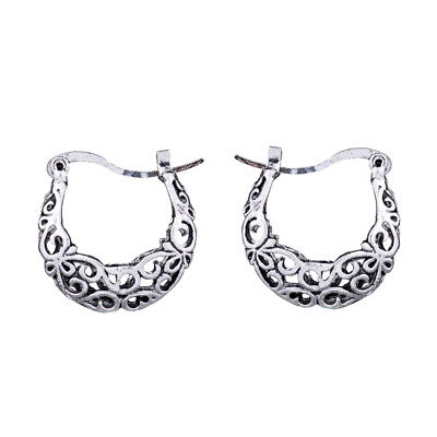 Retro Vintage Anqitue Silver 3D Filigree Chinese Ethnic Small Hoop Earrings