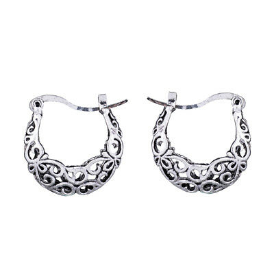 Retro Vintage Antique Silver 3D Filigree Chinese Ethnic Small Hoop Earrings