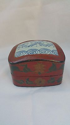 Vintage Chinese Lacquer Wood and Porcelain Small Box