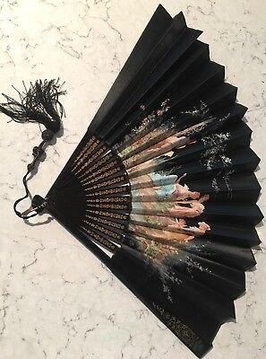 Antique Japanese Black And Painted Fan