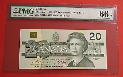 ✪ 1991 $20 Bank of Canada EIX Replacement with Serif - 94.95 PMG Gem 66 EPQ #2
