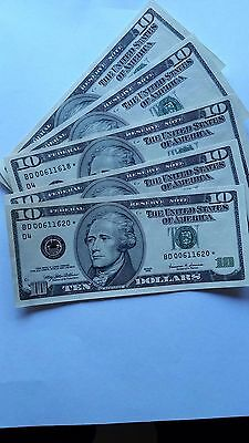 usa $10 star notes (replacement  notes)unc ,run of 5