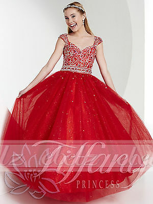 US Stock Kids Red Pageant  Dress Party Princess Ball Gown Flower Girls Dresses