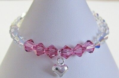 Pink Baby Child Bracelet Heart Charm made with Swarovski & Solid Sterling Silver
