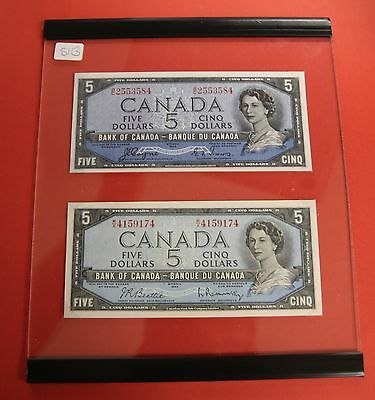 1954 $5 Bank of Canada Devil Face Set - 469.95 Ch UNC - In Hard Plastic Display!