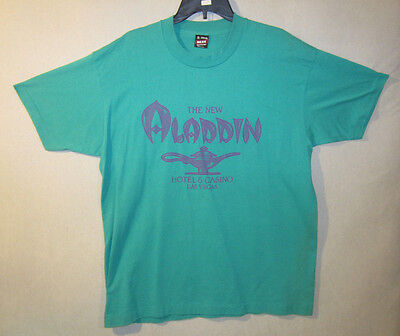 The New Aladdin Hotel And Casino Las Vegas Vintage Green T Tee Shirt XL X Large