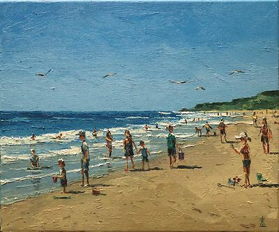 Beach Day Oil on Canvas Original Painting by Dusan Ocean Shore Coast Waves