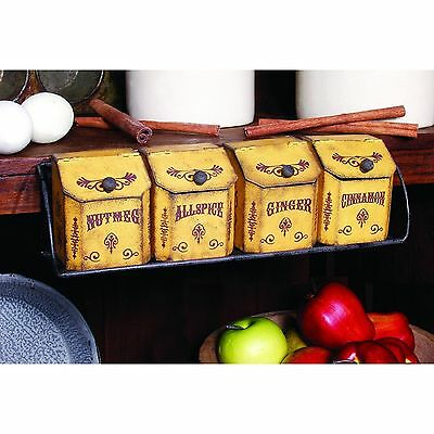 Country Vintage looking spice rack and tins Ohio Wholesale