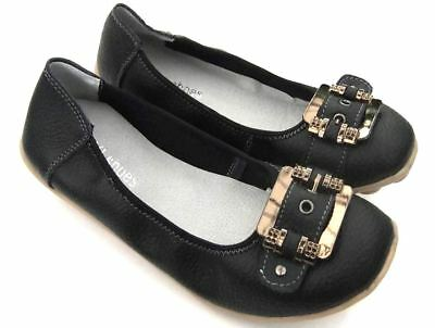 Womens Black FULL LEATHER COMFORT Ballet Flats Buckle Nodule Ladies Walk SHOES