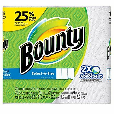 Bounty Select-A-Size Paper Towels White 2 Large Rolls = 25% More Sheets - Pac...