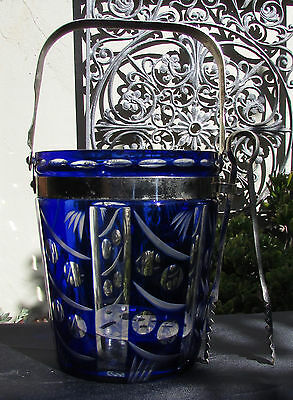 Stunning Vintage Bristol Blue Flashed Glass Ice Bucket