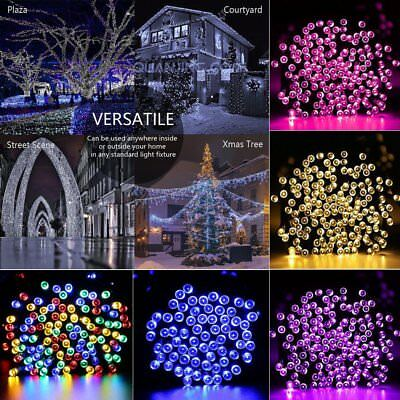 Christmas Solar String Lights 50-200 LED Multi Outdoor Garden Party Fairy Light