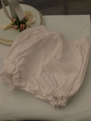 White Cotton Voile Baby Panties or Nappy Cover - Size Newborn 0-4 months