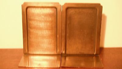 Roycroft  Arts & Crafts Simple Brass Bookends with Hammered Insets