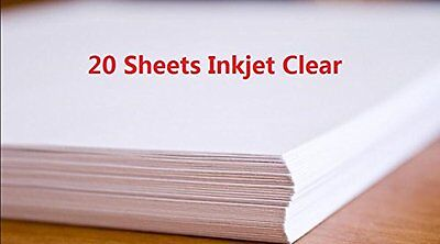 20 Sheets DIY A4 Inkjet Water Slide Decal Paper Sheets Transparent Clear for ...