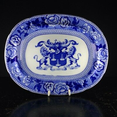 Riley Drapers Guild armorial blue & white serving dish, C. 1820