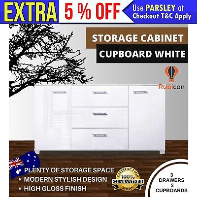 NEW High Gloss Buffet Sideboard Storage Cabinet Kitchen Dining Cupboard White