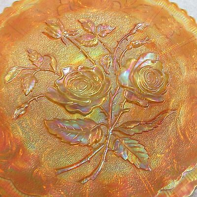 """Collectible Antique Clam Broth Carnival Glass Open Rose 9"""" Plate Imperial Glass"""