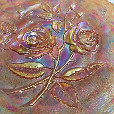 """RARE Antique Amber Carnival Glass Open Rose 9"""" Plate by Imperial Glass"""