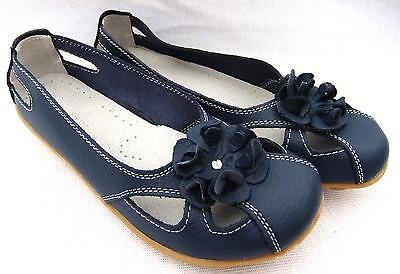 Casual Navy FULL LEATHER Ladies COMFORT Ballet Flats Auyi Nodule Walk SHOES