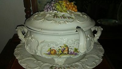 Vintage (60's) Lidded Tuscan Soup Tureen, Pate and Ladle Handcrafted in Italy