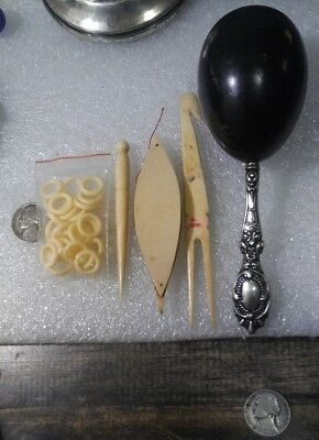 Lot Of Vintage Celluloid,Sterling,Bone, Tatting,Sewing,VICTORIAN!!