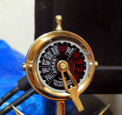 Nautical Brass Vintage Telegraph Ship Engine Room Working Bell Sound Desk Decor.