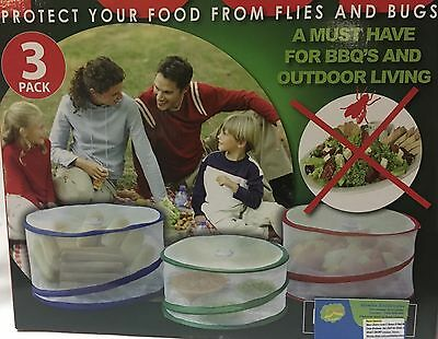 Mesh Food Covers Set Of 3 Protect Food From Flies,Bugs,For BBQ & Outdoor Living