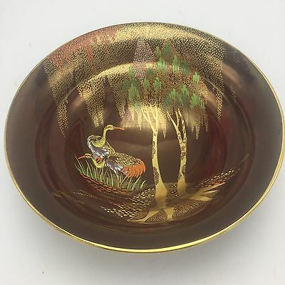 """Red  Gold Carlton Ware Rouge Royale STORKS Willows Footed Beehive Bowl 9""""W 3""""T"""