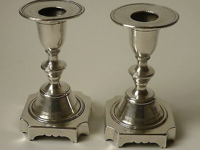 18th CENTURY ITALIAN SOLID SILVER PAIR OF CANDLESTICKS