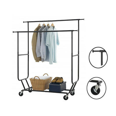 Adjustable Double Rolling Clothing Bar Rail Rack Clothes Garment Rack Hanger