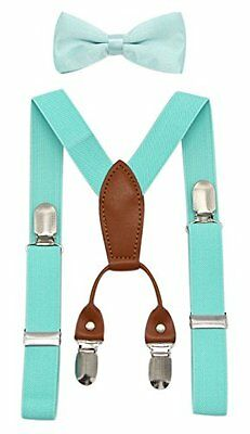 JAIFEI Toddler Kids 4 Clips Adjustable Suspenders and Matching Bow Tie Set (T...