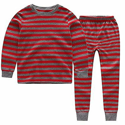 CNBABY Color Stripe Toddler Boy Pajamas 100% Cotton (2 Toddler Red)